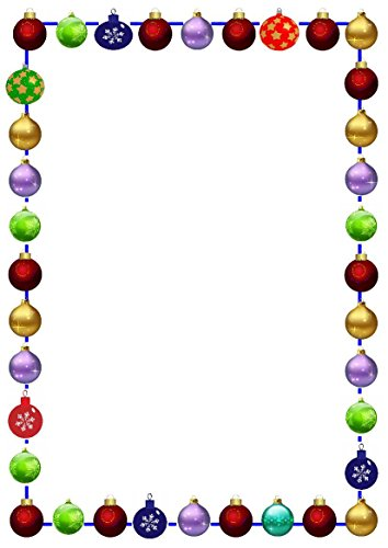 10 boules de Noël A4 papier à lettres – Idéal pour les invitations/affiches/menus – d'autres Motifs/quantités et tailles disponibles