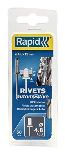 Rapid Blindnieten KFZ Ø 4,8mm, 6-9mm Klemmbereich, 50 Stk. ALU Nieten, Set Inkl Bohrer, für blindnietzangen