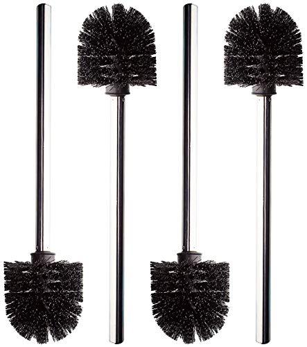 Monster24 hochwertige stabile Edelstahl WC Bürste im 4er Set schwarz/anthrazit ca. 36 cm, Bürstenkopf austauschbar, Ersatz Toilettenbürste Klobürstenset Hygiene Klobesen Clobürste Toilet Brush