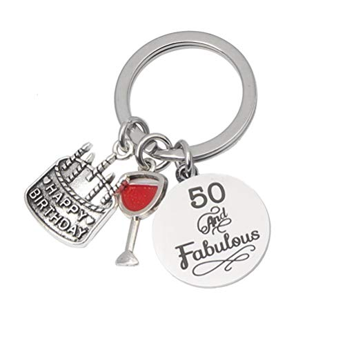 50th Birthday Keyring Keychain Gifts Presents with Black Rectangular Gift Box for Women Men Wedding Anniversary or Birthday (50th)