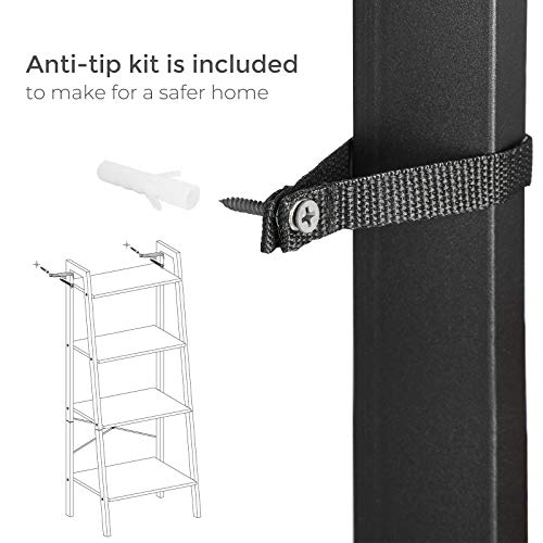 VASAGLE ALINRU Ladder Shelf, 4-Tier Bookshelf, Storage Rack Shelves, Bathroom, Living Room, Industrial Accent Furniture, Steel Frame, Honey Brown and Black ULLS044B05