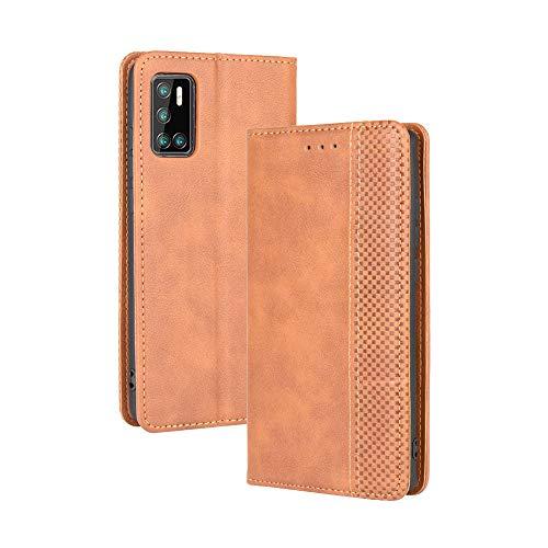 LAGUI Kompatible für Cubot P40 Hülle, Leder Flip Hülle Schutzhülle für Handy mit Kartenfach Stand & Magnet Funktion als Brieftasche, braun
