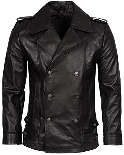 Mens Classic German Navy Military Peacoat Black Cowhide Leather Jacket