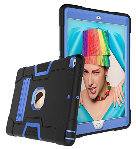 Dteck iPad 8th Generation Case 2020, iPad 7th Generation Case 2019, Rugged Hybrid Shockproof Protective Kids Friendly Kickstand Without Screen Protector Cover for Apple iPad 10.2-inch, Black & Blue