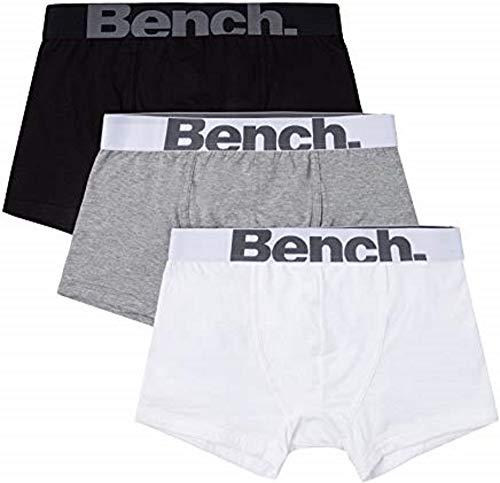 Bench Herren Klassische Form Fit Mode Trunks (3er Pack Unterwäsche), Schwarz, Weiß und Grau - Grau - Small