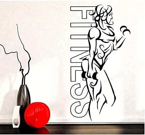 ZZQQQ Pegatinas de decoración de Pared de Moda Fitness Girl Placa de Hierro Femenina Ejercicio Yoga Vida Sana Belleza North Home Gym 57X30cm