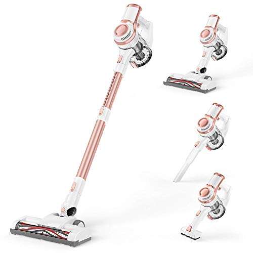 Cordless Vacuum, APOSEN Stick Vacuum with Detachable Battery Fast Charging in 2.5 Hrs, 4 in 1 Lightweight Handheld Vacuum Cleaner with Powerful Suction, Ideal for Hardwood Floor, Pet Hair