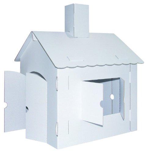 Kreul 39106 - Joypac Bastelkarton Spielhaus, XL, ca. 44,5 x 41 x 57 cm groß, aus stabiler weißer Pappe, zum bemalen, bekleben und dekorieren, ideal für Kinder