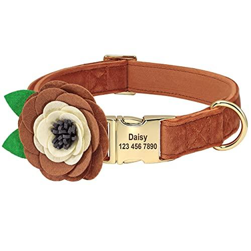 Beirui Collar de terciopelo suave para perro con accesorios de flores extraíbles, collar de perro personalizado con placa de nombre – Collar adorable para...