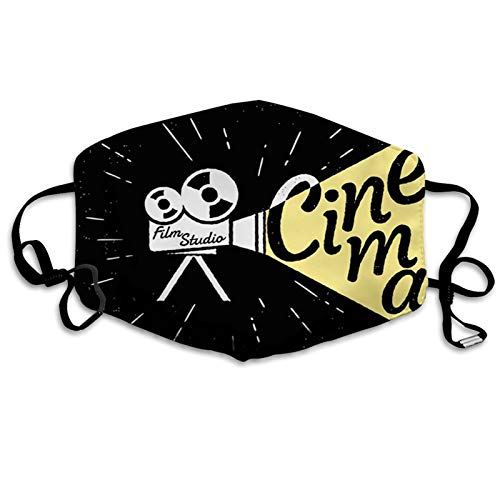 Movie Theater, Movie Projector Sketch with Grunge Cinema Lettering on Black Backdrop,Yellow Black White Proof Windproof Face Mask,Reusable,Washable Cloth,Face Cover,Cover for Adults