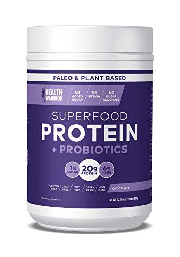 HEALTH WARRIOR Superfood Protein Powder, Chocolate, 18 Servings, 20g Plant-Based Protein, Vegan, Non-GMO, Gluten Free, Paleo, Stevia Free, Low Sugar, Probiotics and Prebiotics.