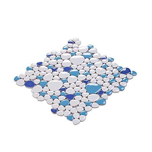 XTXWEN Piastrella per Pavimenti, Tessere di Mosaico in ciottoli di Ceramica, Parete a Specchio, 28.2 × 28.2 cm - per Cucina, Bagno, Balcone, Piastrelle per Piscina