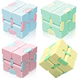 heruo Infinity Cube Fidget Cube Toy Stress Relief for Adults and Kids - 4 Pieces Magic Puzzle Flip Cube for ADD, ADHD, Anxiety Relief and Killing Time