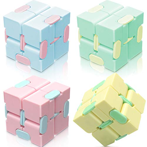 heruo Infinity Cube Fidget Cube Toy Stress Relief for Adults and Kids - 4 Pieces Magic Puzzle Flip...