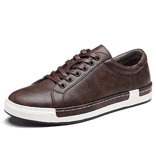 Homme Baskets à Lacets Casual Basses Chaussures en Cuir Travail Business Sneakers Sport Marron 42