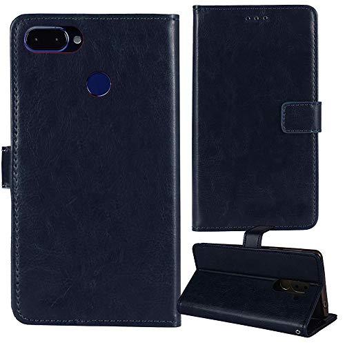 Lankashi Premium Retro Business Flip Book Stand Brieftasche Leder Tasche Schütz Hülle Handy Telefon Case Für ROKiT IO 3D 5.45' Abdeckung Wallet Cover Etui Holder (Dark Blau)
