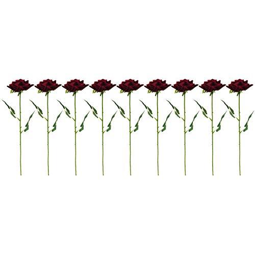 Camisin Rosas falsas de imitación de rosas solas, rosas rojas, flores falsas, decoración para el hogar, jardín, bodas, fiestas, 9 unidades