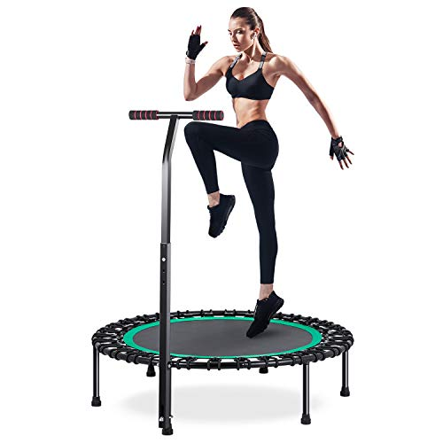HOMEOW Klein Trampolin Fitness Jumping Trampolin Drinnen mit T-Stange Leise 100cm Mini-Fitness-Trampolin Indoor mit verstellbarem Haltegriff Anti-Rutsch-Fußpolster Nutzergewicht bis 200kg Grün