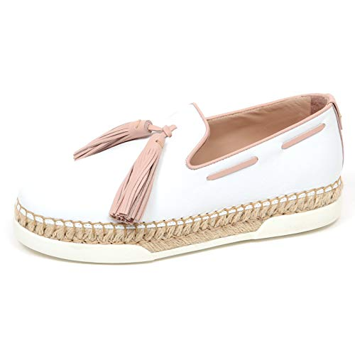 F0414 Mocassino Donna White/pink Tod'S Scarpe Loafer Slip on Shoe Woman [40]