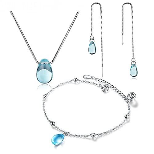 collar Conjuntos De Joyas De Plata De Ley 925 Collar De Lágrimas De Gota De Agua De Cristal Azul + Pendientes + Pulsera Para Regalo De Mujer