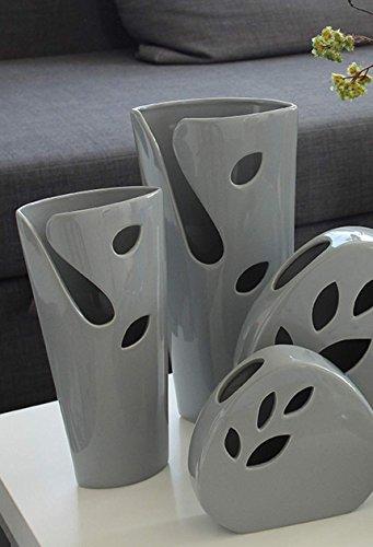 Gilde Céramique S Vase Vito Grey Lot de 2 Gris en L = 15,5 x l = 9 x h = 32 cm
