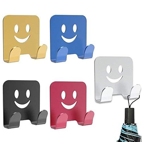5 Pezzi Gancio per Rasoio, Ganci Adesivi, Sorriso Faccia Gancio Multiuso Autoadesivo in Lega Alluminio per Rasoio da Barba, Spina, Chiavi, Utensili da Cucina, Asciugamano, Accappatoio (5 Colori)