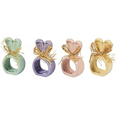 Easter Bunny Napkin Rings - Set of 4 Pastel Ceramic Napkin Holders in Pink, Purple, Yellow, and Green for Holiday Lunch and Dinner Table