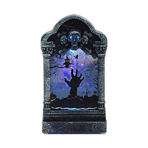 SilenceID Halloween Dekoration Indoor Halloween Leuchtende Grabstein Desktop Ornament Home Party Scary Horror Dekorative Requisiten