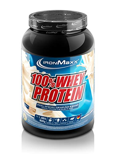 IronMaxx 100% Whey Protein Pulver – Proteinreiches Eiweißpulver für Proteinshake – Wasserlösliches Proteinpulver mit neutralem Geschmack – 1 x 900 g Dose