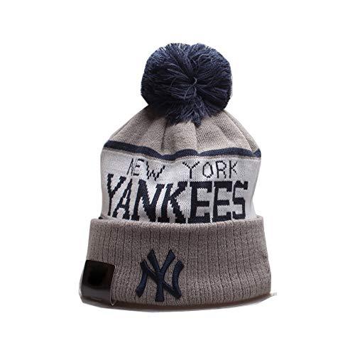 pooxun Team Logo Sport Knit Beanie Winter Hat with Pom for Yankees Fans, Warm Winter Hats Fashion Cuff Knit Cap