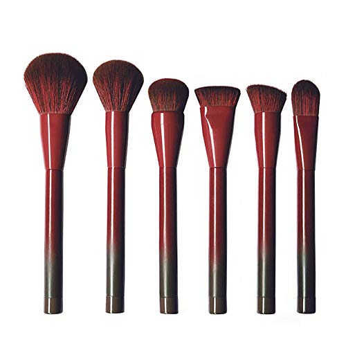 Pinceau De Maquillage Set 6 Pcs Professionnel Débutants Fondation Blush Contour Outil De Maquillage (vin Rouge)