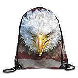 An Angry North American Bald Eagle On American Flag...