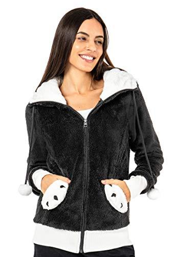 Sublevel Damen Panda Fleece-Jacke mit Öhrchen und Kapuze Dark Grey XL