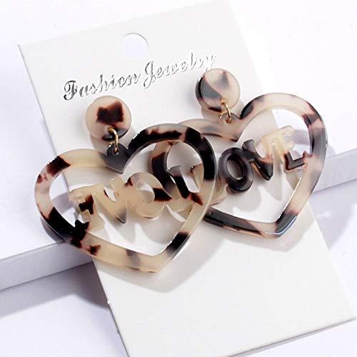 SSEHXL Pendientes Diseño Elegante del corazón Letra Inglesa Amor Pendientes de Gota de acrílico para Las Mujeres Chica Moda Dulce Pendientes joyería Colorida