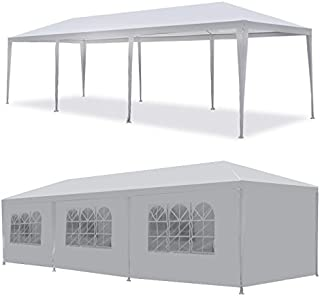 Smartxchoices 10' x 30' Outdoor White Waterproof Gazebo Canopy Tent with Removable Sidewalls and Windows Tent for Party Wedding Events Beach BBQ