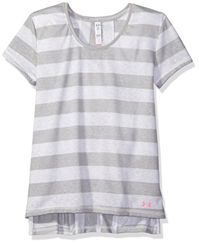 Under Armour Girls' Finale Short Sleeve, Whisper Gray (929)/Pink Punk, Youth Small