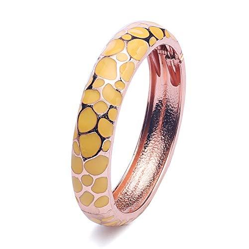 Ujoy Armband mit buntem Cloisonne-Armband, Emaille Handarbeit Gold Federscharnier Geburtstag Urlaub Party Geschenke Armreifen - gelb