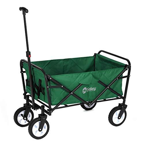 Sekey Folding Wagon with Brakes Folding Trolley Handcart Outdoor Wheelbarrow Beach Cart Folding Wagon Outdoor Garden Trailer Transport Trolley for All Terrain Load Capacity 80 kg, Green