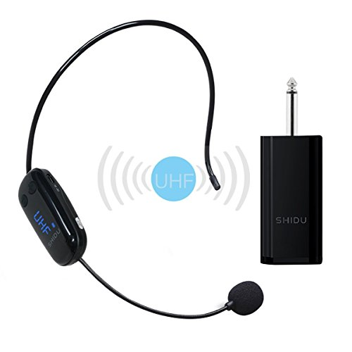 Versión mejorada Micrófono inalámbrico, transmisión inalámbrica UHF estable Auriculares inalámbricos inalámbricos de manos libres en pared perfectos para grabación, SLR digital, amplificador de voz