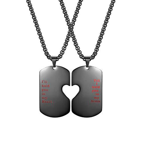 Flongo Partner Anhänger Freundschaftsketten Halskette, Edelstahl BFF Kette mit Gravur Herz Form Erkennungsmarke Dog Tag Anhänger Schlüsselanhänger Schwarz Partnerketten