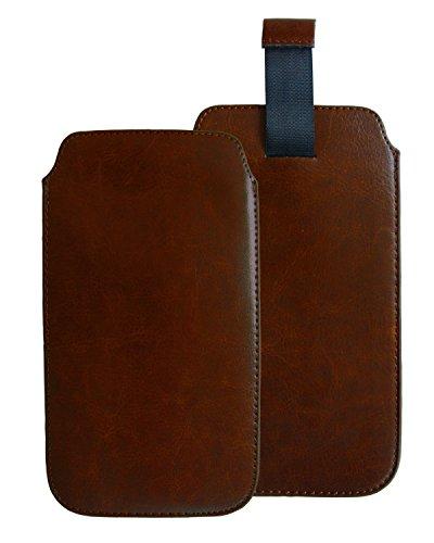 Slabo Schutzhülle für Archos 40 Power Schutztasche Handyhülle Hülle aus PU-Leder - BRAUN | Brown