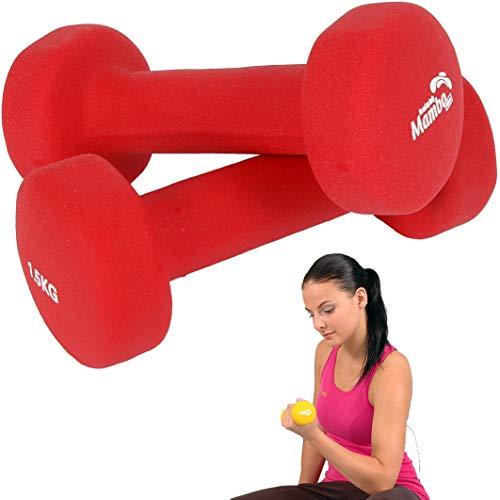 MVS 06-010204 Set 2 MANUBRI da 1,5 kg cadauno Neoprene Dumbbells Pesi Fitness Opaco Colore Rosso