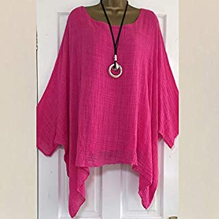 QUINTRA Women Solid Color Cotton Linen Tunic Shirt Jacquard Tops Linen Tunic Casual Short Sleeve Tops T-Shirt