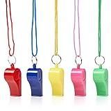THE TWIDDLERS 60 Fischietti in Plastica Neon con Cordini| Colori Vivaci, Suono Forte, Resi...