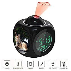 Children's Black Multi-Function Projection Clock Led Colorful Backlight Electronic Alarm Clock Voice Report with Thermometer Snooze Function Adult Black and Brown German Shepherd Lying on Floor