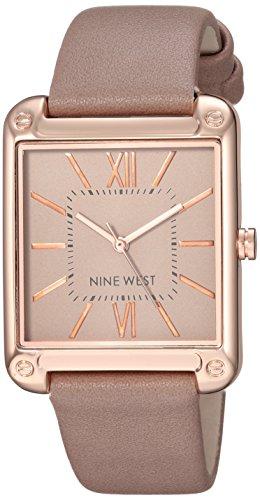 Nine West Damen analog Japanisch Quarz Uhr mit Kunstleder Armband NW/2116TPRG