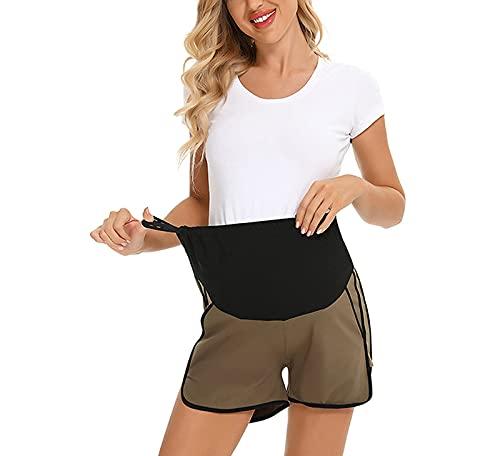 Pantalones de maternidad a juego de cintura alta con bolsillos, pantalones cortos de yoga para mujeres embarazadas, pantalones cortos de elevación del vientre (1 #, M)