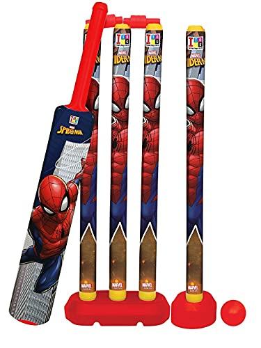 OXOUR ® Kids Cricket Kit Set with Bat Balls Wickets Bells- Indoor Beach Outdoor Garden Play Set for 2-6 Yrs Kids (Spider Man Cricket Set) (Cricket Set)