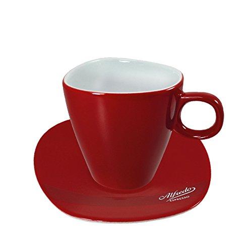 Alfredo Milchkaffee-Tassen mit Untertassen rot 'Walküre' 6 Stück