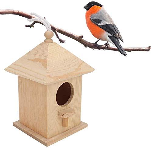 HEEPDD Casa para pájaros, Casitas para pájaros de Madera con Nido de pájaros Colgando de la Percha para la decoración del Patio del jardín al Aire Libre